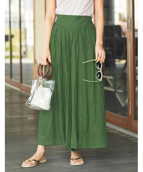 Re:EDIT(リエディ)の「リラックスマキシスカート風ロングパンツ(パンツ)」|グリーン