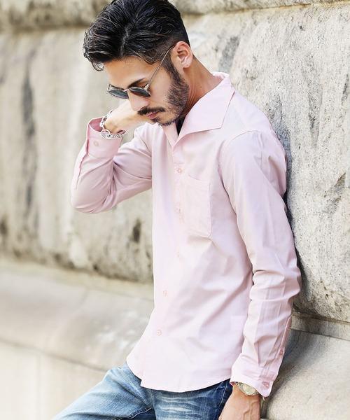ストレッチブロードイタリアンカラーシャツ