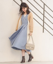 natural couture(ナチュラルクチュール)のダブルフェイス上品ロングカーディガン(カーディガン)