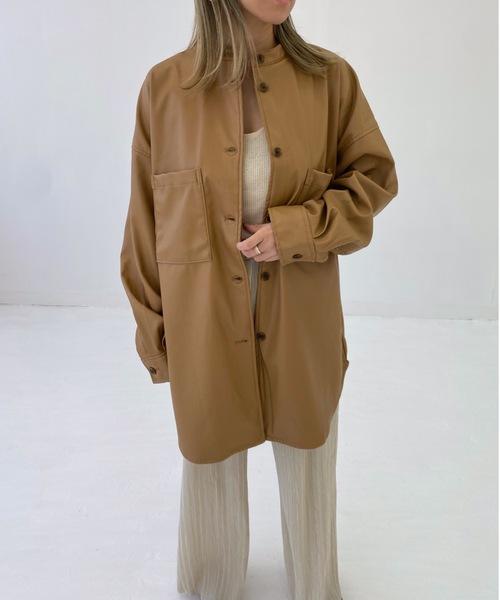エコレザースタンドカラーシャツジャケット