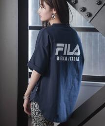 FILA/フィラ フロント&バックロゴ ビッグシルエットフットボール半袖Tシャツネイビー