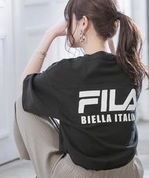 FILA/フィラ フロント&バックロゴ ビッグシルエットフットボール半袖Tシャツブラック