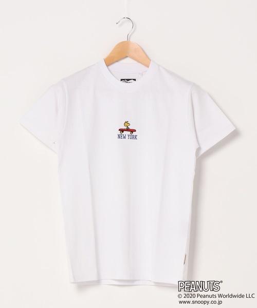 PEANUTS/ピーナッツ スヌーピー ユニセックスデザイン リラクシングシルエットフロント刺繍Tシャツ ウッドストック チャーリーブラウン ユニセックス プレゼントにも最適アイテム!