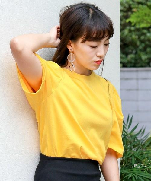 ボリューム袖 ビビットカラー 薄手Tシャツ