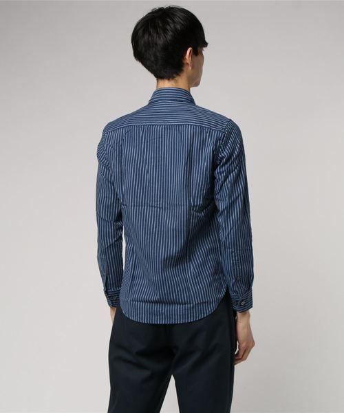 タカキューメンズ/TAKA-Q:MEN  インディゴ風オックスストライプラウンドカラー長袖シャツ(ブルー・ネイビー)