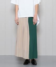 <H>COLOR BLOCK PLEATED MAXI SKIRT/スカート