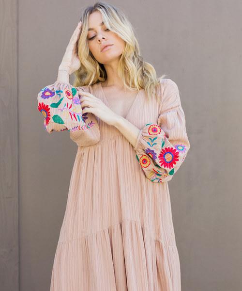 Embroidered Balloon Sleeve Maxi Dress/刺繍バルーンスリーブマキシワンピース