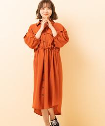 ビッグシャツワンピースオレンジ