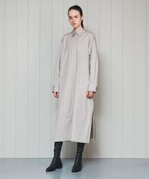 <H>STRIPE SHIRT DRESS/シャツワンピース