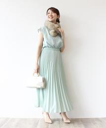 e3fff8d15d393 ... ドレス   結婚式・二次会. 160cm38. Jines(ジネス)の「フロールストレッチデシン プリーツロングスカート  結婚式・
