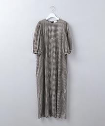 <6(ROKU)>BLOCK PRINT VOLUME SLEEVE DRESS/ワンピース