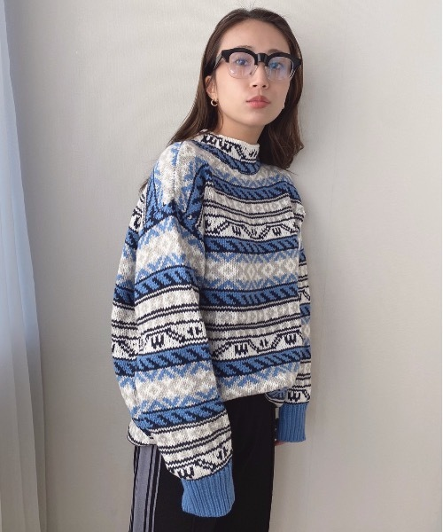 【SANSeLF】nordic border knit sanw34