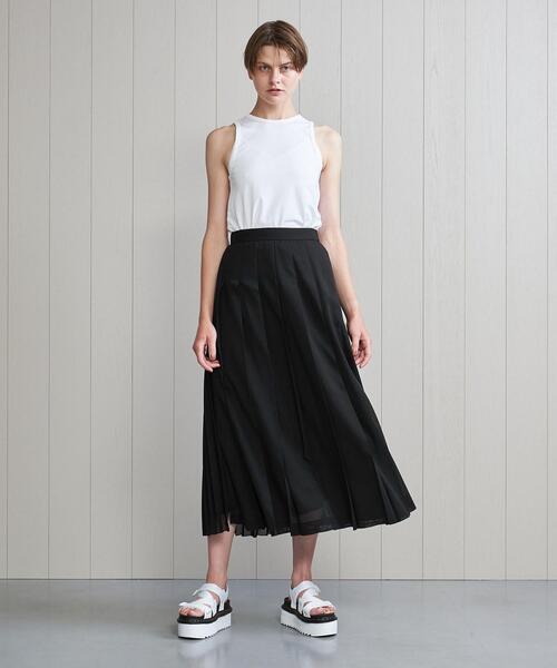 <H>SHEER PLEATED SKIRT/スカート