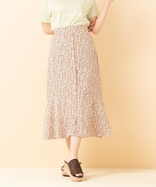 花ガラ前釦ロングスカート