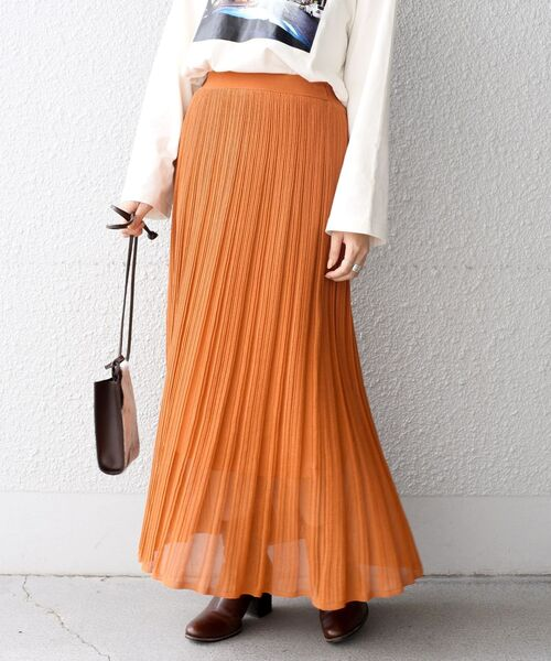 SHIPS(シップス)の「プリーツスカート◇(スカート)」|オレンジ