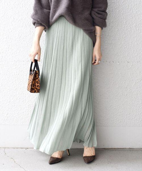 SHIPS(シップス)の「プリーツスカート◇(スカート)」|ライトグリーン