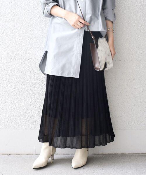 SHIPS(シップス)の「プリーツスカート◇(スカート)」|ブラック