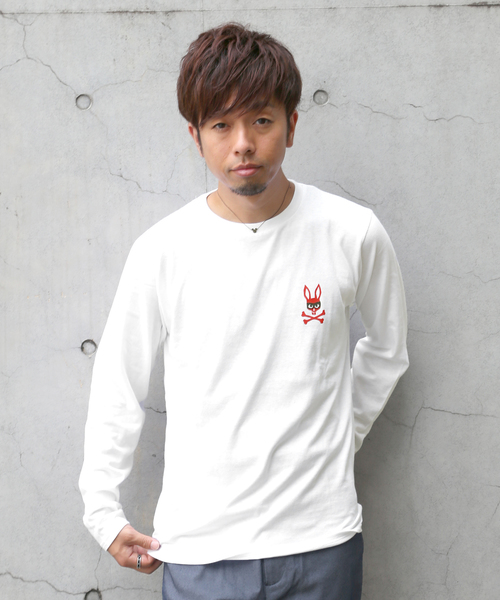 Psycho Bunny(サイコバニー)の「mischief bunny 長袖Tシャツ(Tシャツ/カットソー)」 ホワイト