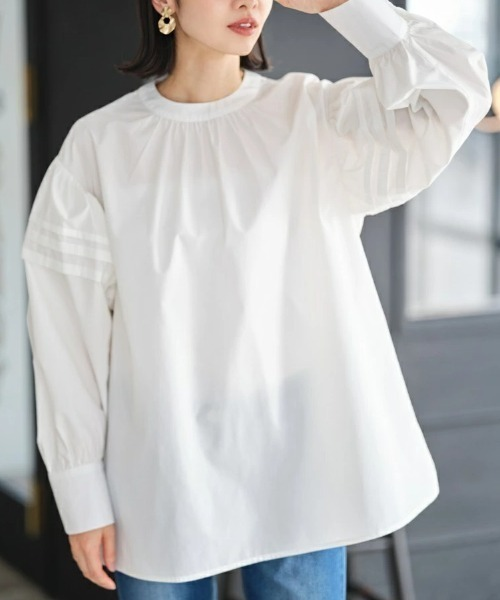 &. NOSTALGIA(アンドドットノスタルジア)の「タックフレアシャツチュニック(シャツ/ブラウス)」 ホワイト