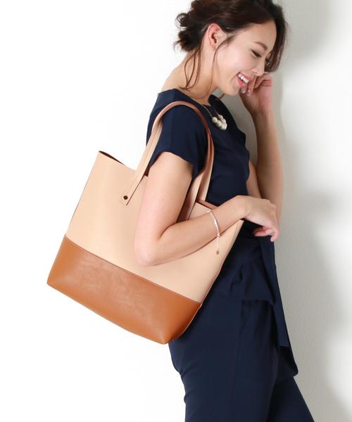 aebe7954b83b 【セール】バイカラー フェイクレザー トートバッグ(トートバッグ)|sankyo shokai(サンキョウショウカイ)のファッション通販 -  ZOZOTOWN