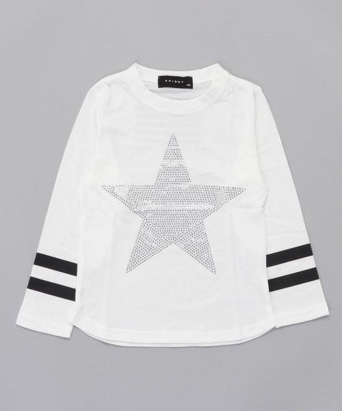 星柄ラインストーン長袖Tシャツ キッズ