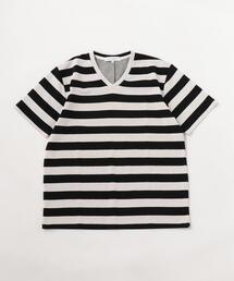 <A DAY IN THE LIFE>ダブルフェイス ボーダー VネックTシャツ