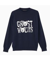 THE GHOST WOLVES/GW LOGO プルオーバーネイビー