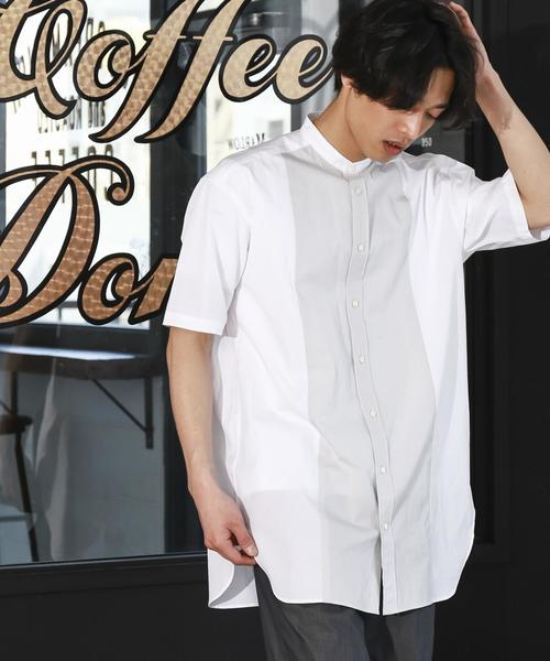 KC BIG COL/COMB バンドカラー 半袖シャツ ◆