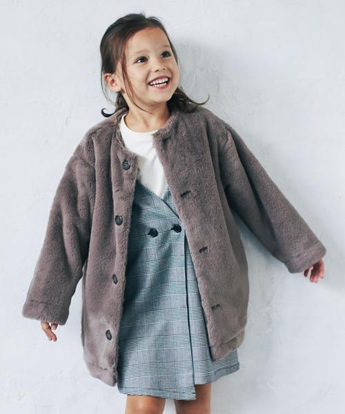 ◆【キッズ】フェイクファーマフラー付きコート