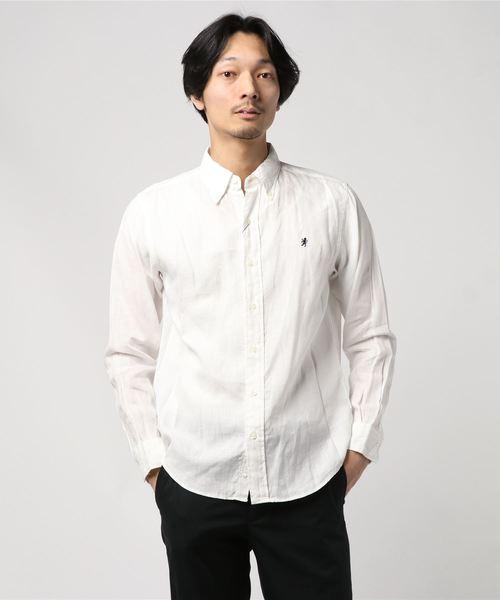 GYMPHLEX/ジムフレックス リネンクロス ボタンダウンシャツ