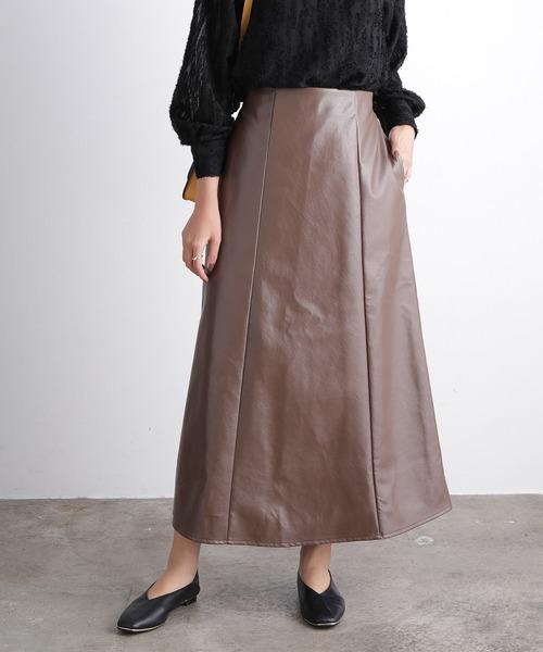 ViS(ビス)の「【WEB限定】エコレザーフレアスカート(スカート)」 ブラウン