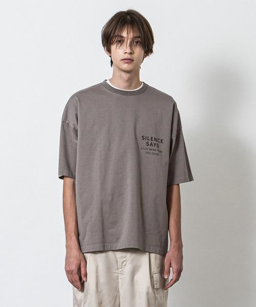 ドロップショルダープリントTシャツ(Silence)