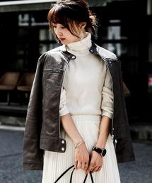 Fashion Letter(ファッションレター)のエコレザー シングルライダースジャケット(ライダースジャケット)
