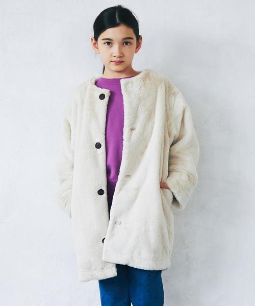 ◆【ジュニア】フェイクファーマフラー付きコート