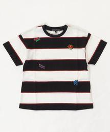 LOGO SCRATCH刺繍 ビッグTシャツ【S/M】ブラック×ホワイト