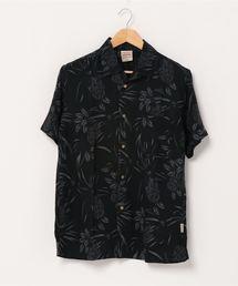 レーヨンアロハシャツ リラクシングシルエット ユニセックスサイジング オープンカラー 開襟シャツブラック