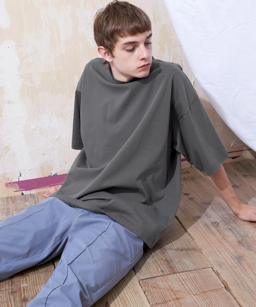 シルケットライク天竺 オーバーサイズS/Sカットソー 無地T トップス Tシャツ  MERCERIZATION COTTON OVERSIZED SS TEE - EMMA CLOTHES 2021SS -