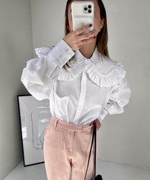 【SANSeLF】 frill collar blouse sanw39ホワイト