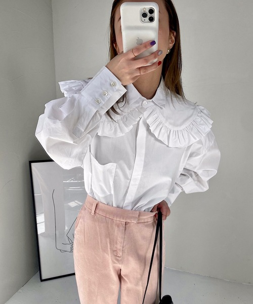 【SANSeLF】 frill collar blouse sanw39