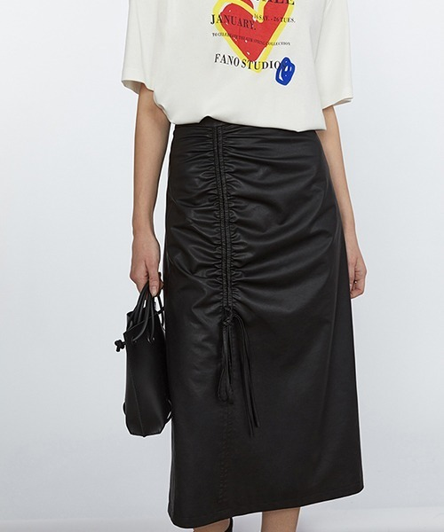 【Fano Studios】【2021SS】Pu leather gathered design middle skirt FC21B013