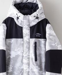 撥水防風ストレッチ耐水圧10000mm切替中綿フードジャケット カモフラージュホワイト