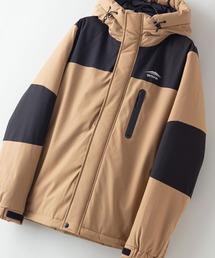 撥水防風ストレッチ耐水圧10000mm切替中綿フードジャケット カモフラージュダークベージュ