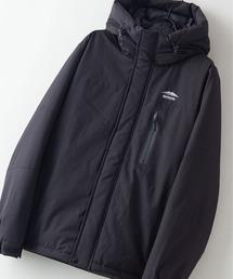 撥水防風ストレッチ耐水圧10000mm切替中綿フードジャケット カモフラージュブラック