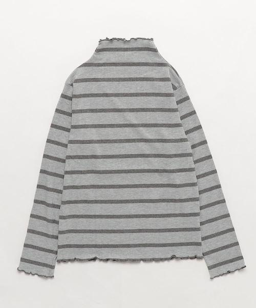 SUCRE/ハイネックボーダーロングTシャツ