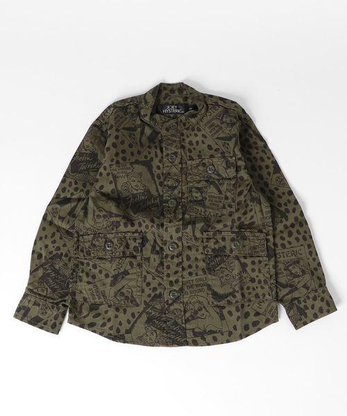 FEELIN' HYSTERIC総柄 スタンドカラーミリタリーシャツ【S/M】