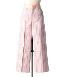 Drawer タータンチェックワイドパンツ(ピンク)