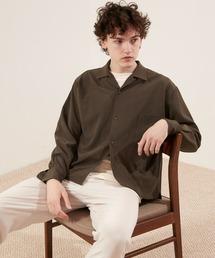 ブライトポプリンリラックスオープンカラーシャツ Poplin Open Collar Shirtダークブラウン