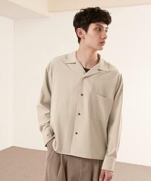 ブライトポプリンリラックスオープンカラーシャツ L/Sとろみシャツ Poplin Open Collar Shirtベージュ系その他