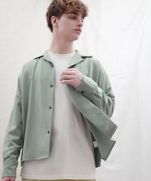 ブライトポプリンリラックスオープンカラーシャツ Poplin Open Collar Shirtグリーン系その他