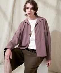 ブライトポプリンリラックスオープンカラーシャツ L/Sとろみシャツ Poplin Open Collar Shirtパープル系その他